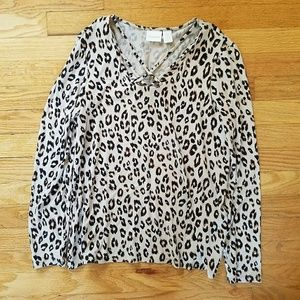 Chicos Leopard Criss Cross Long Sleeve Blouse